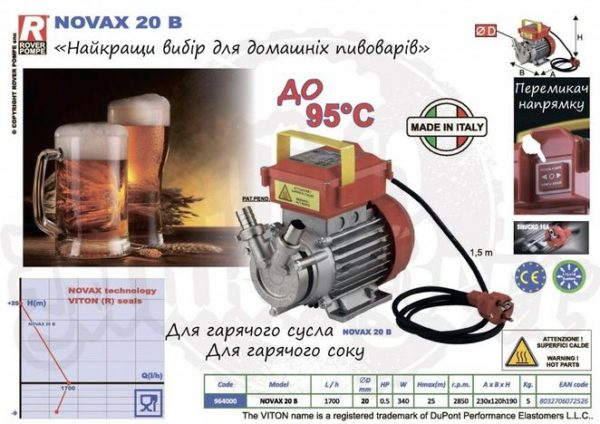 Насос для пиво 20B (inox) (Пивоварный насос) 2